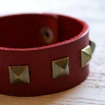 Skinnarmband Rött 20,5cm